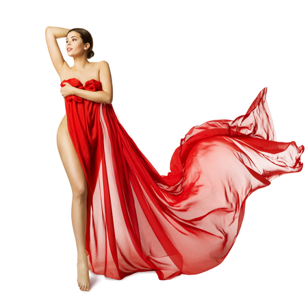 woman naked body: Woman Sexy Body in Red Flying Silk Fabric, Fashion Beauty Model Naked Leg, White Isolated