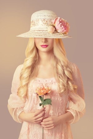 Woman in Fashion Straw Hat Holding Peony Flower, Young Girl in Pink Dress, Long Curly Hair, Unrecognizable Face