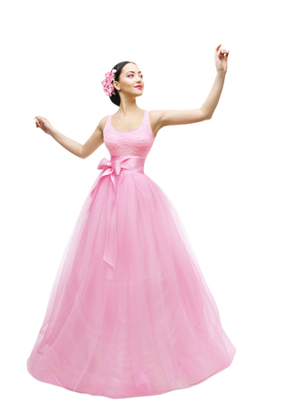 ball isolated: Fashion Model Ball Dress, Woman in Long Pink Gown, Young Asian Girl over White Background