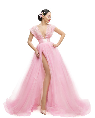 gown: Fashion Model Dress, Woman in Long Pink Clothes, Young Asian Girl Posing over White Background