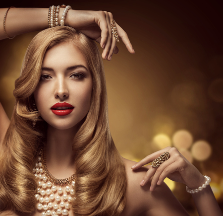 golden: Woman Jewelry Beauty, Fashion Model Makeup Portrait, Beautiful Young Girl with Long Hair Posing Jewellery