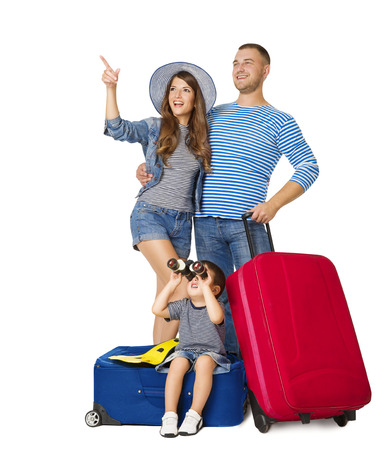 Family Travel Suitcase, Child on Luggage Binocular Looking Up, People Pointing Up with Vacation Baggage, Isolated over White Background Archivio Fotografico