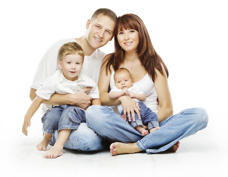 four people: Family on White Background, People Four Persons, Happy Parents sit with Children, Isolated over White