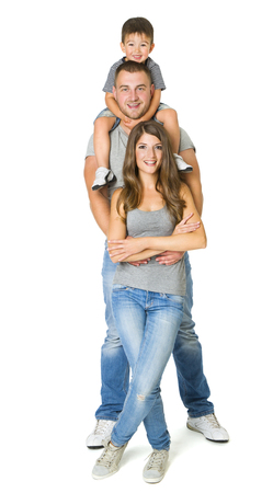Family Three Persons over White Background, Father Mother and Child, Happy Kid on Parents Shoulders Foto de archivo