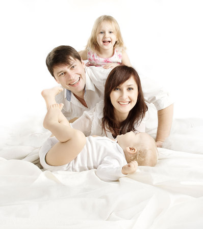Family over White Background, Happy Parents with Children, Father Mother Kid and Baby, Four People White Isolated