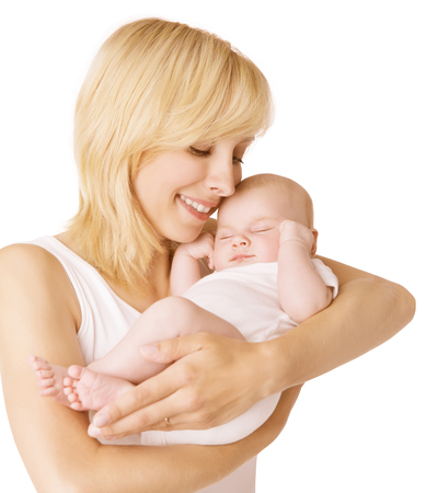 Mother and Baby, Happy Woman with Sleeping Newborn Kid, Child Sleep in parent hands over White Background photo