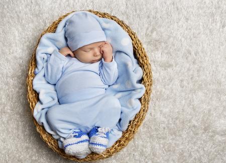 Baby Sleeping, Newborn Kid Sleep Basket, New Born Child Asleep in Blue Clothing