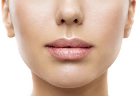 huge: Lips, Woman Face Mouth Beauty, Beautiful Skin and Full Lip Closeup, Pink Lipstick