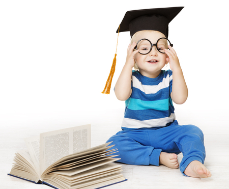 Baby Read Book, Smart Kid Boy in Glasses and Mortarboard Graduation Hat, Early Children Education