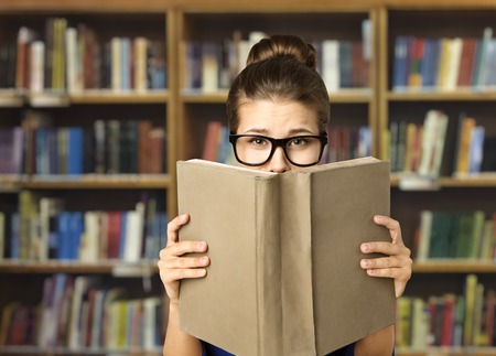 Student Read Open Book, Eyes in Glasses and Books Blank Cover, Woman Study in Library, Education photo
