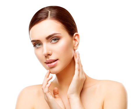 Woman Beauty Makeup, Natural Face Make Up, Body Skin Care, Beautiful Model Touching Neck Chin