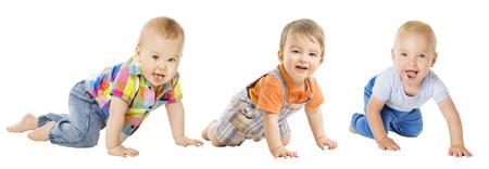 Gruppo di neonati, strisciare bambino infantile, bambino bambino strisciare sopra bianco