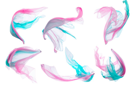 Fabric Cloth Flowing on Wind, Flying Blowing Silk Pieces, Isolated over White Background 版權商用圖片