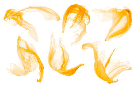 Fabric Cloth Flowing on Wind, Flying Blowing Yellow Silk, Isolated over White Background