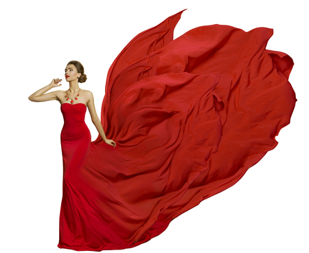 Fashion Model in Fly Dress Fabric, Woman Beauty Fluttering Waving Silk Cloth, isolated white background
