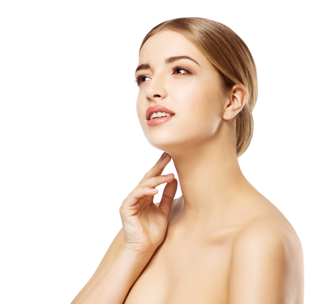 Woman Face Beauty Skin Care Make Up, Beautiful Girl Natural Makeup, Model Isolated over White background