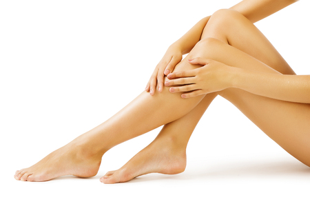 Woman Leg Skin, Body Massage and Legs Skin Care, white isolated