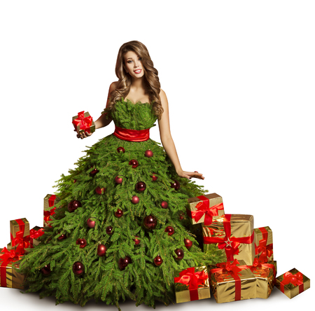 woman christmas tree dress and presents gifts fashion model stock photo picture and royalty free image image 88894787 - Christmas Tree Dress