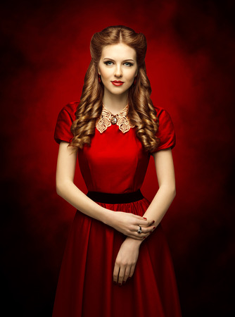 Woman Historical Hairstyle and Retro Dress, Fashion Model in Red Victorian Period Style