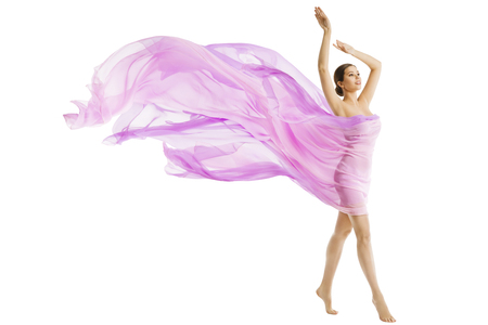 Woman Body Beauty, Model Dressed in Silk Pink Flying Fabric Fluttering on Wind, Young Girl Walking over White Background Imagens