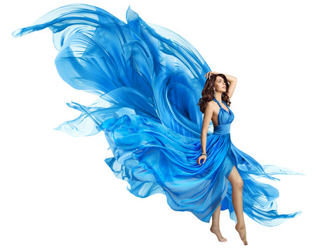 Woman Flying Blue Dress, Elegant Fashion Model in Fluttering Gown on White, Art Fabric Fly and Flutter on Wind 스톡 콘텐츠
