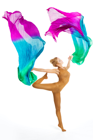 Gymnast Dance With Flying Colorful Fabric, Gymnastics and Aerobics,  Woman Acrobat in Leotard Dancing Isolated on White Background