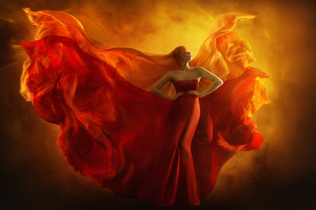Fashion Model Art Fantasy Fire Dress, Blindfolded Woman Dreams in Red Flying Gown, Girl Beauty Portrait, Fabric Fluttering like Flame Wings