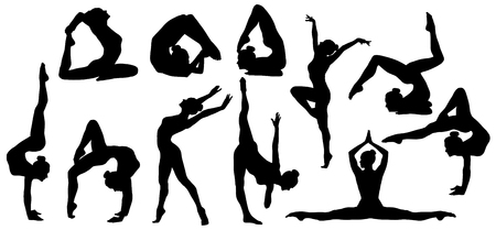 Gymnastics Poses Silhouette, Set of Flexible Gymnast Exercise, Acrobat Back Bend and Hand Stand Pose, People Shapes on White Background Stock Photo - 99872494