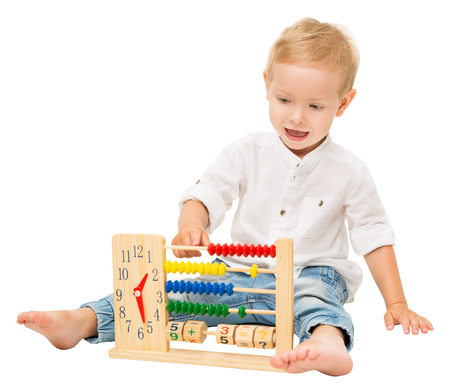 Baby Counting Abacus, Children Mathematic Education, Kid Playing with Math Clock Isolated over White Background