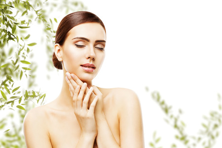 Beauty Skin Care and Face Makeup, Woman Skincare Natural Make Up, Beautiful Model Touching Neck Chin, eyes closed