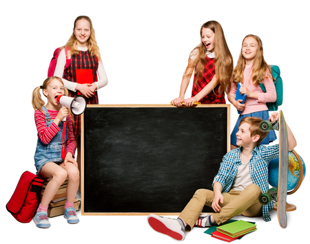 Children Group with Advertisement on Blank School Blackboard, Students Isolated over White Background
