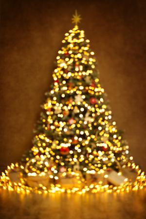 Christmas Tree Lights, Defocused Blurred Xmas Lighting Abstract Background, New Year Night