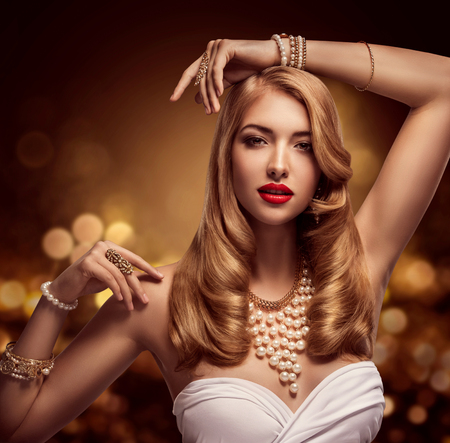 Woman Jewelry, Gold Pearl Jewellery Bracelets and Necklace, Fashion Model Beauty Portrait, Girl with Long Golden Hair