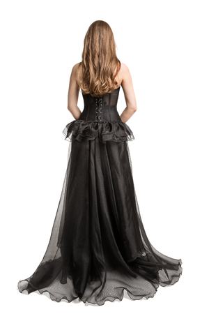 Fashion Model Black Dress, Woman Long Gown Back Rear View, Girl Looking Away Isolated over White Background 免版税图像 - 117092349