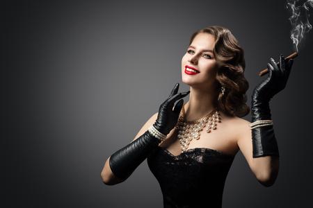 Retro Woman Smoking Cigar, Happy Fashion Model Beauty Portrait, Beautiful Girl Gloves, Luxury Pearl Jewelry
