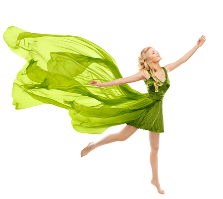 Happy Woman Dance in Flying Green Dress, Beautiful Young Girl in Gown with Waving Fluttering Cloth Isolated on White Background
