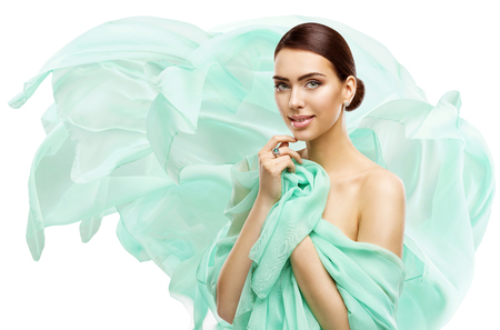 Woman Beauty Makeup Skin Care, Young Model in Fluttering Dress Isolated over White Background