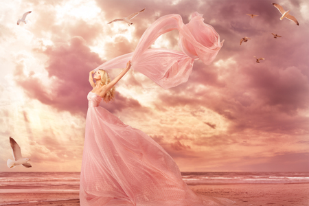 Woman Portrait in Long Dress on Sea Coast, Fantasy Girl Pink Gown with Flying Shawl in Storm Wind