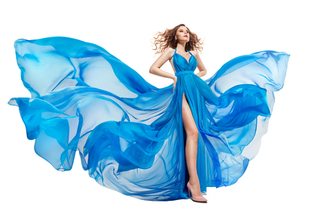 Woman Flying Blue Dress, Fashion Model in Long Waving Gown, Fluttering Fabric on White Background
