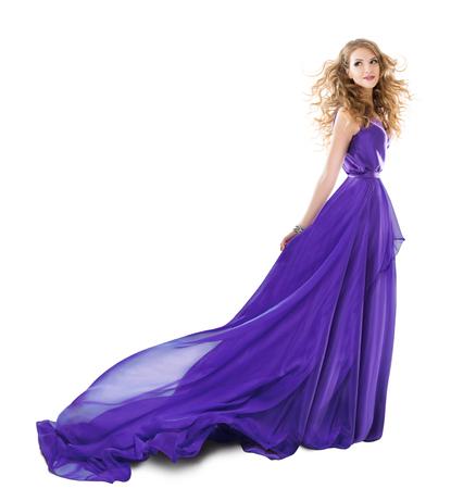 Woman Long Purple Dress, Fashion Model in Evening Gown, Girl full length Beauty portrait over White Banco de Imagens