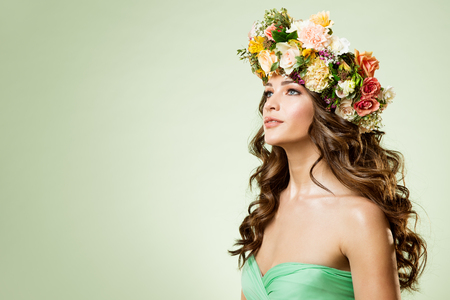 Fashion Models Flowers Wreath Beauty Portrait, Woman Makeup Hairstyle with Roses, Beautiful Girl Flower in Hair