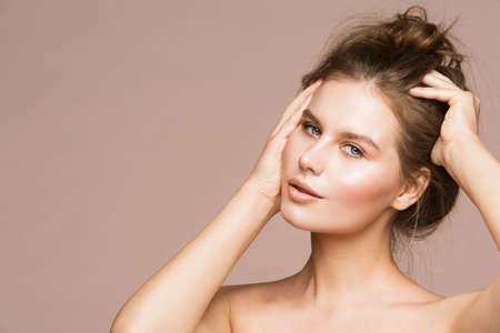Fashion Model Beauty Makeup, Beautiful Woman Spread Dishevel Hair Wet Skin Make Up, Studio Portrait