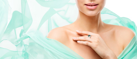 Woman Beauty Skin Care, Model Face Lips Neck and Shoulders Isolated over White Background in Flying Dress