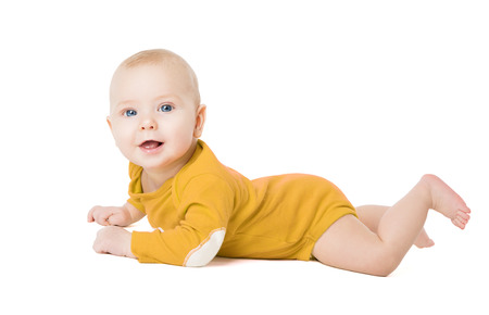 Crawling Baby Boy, Happy Infant Kid Lying on White, Six Months Old Child Banco de Imagens
