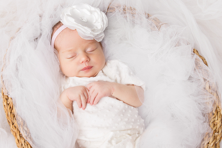 Newborn Baby Girl, Sleeping New Born Kid in White, Beautiful one month old Infant Portrait