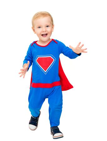 Baby Superhero, Kid Boy Super Hero Costume, Happy Child  on White