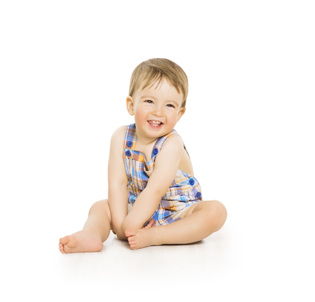 Baby Boy, Happy Toddler Kid Sitting on White Background, Smiling Infant Child Portrait, One Year Old Banco de Imagens