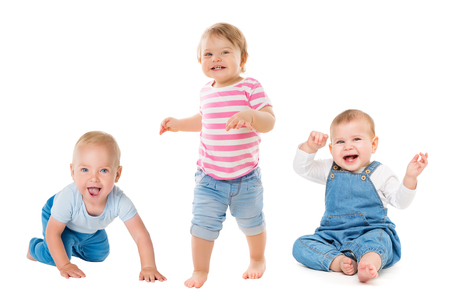 Babies Boys Girls, Crawling Sitting Standing Infant Kids, Growing Toddlers Children Group Isolated on White Background, One year old Banco de Imagens