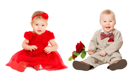 Kids Well Dressed, Elegant Baby Girl in Red Dress, Boy in Suit with Flower, sitting on White