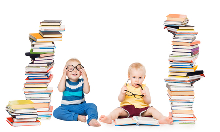 Kids Reading Books, Baby School Concept, Children Play With Books Stack on White Banco de Imagens